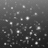 Fallender Schnee auf transparentem Hintergrund, Vektordesign des Hintergrundes Abbildung kann als Hintergrund benutzt werden Lizenzfreie Stockfotos