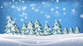 Fallender Schnee in einem Winterpark mit Schnee bedeckte Bäume stock video