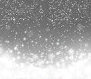 Fallender Schnee mit Schneeflocken auf transparentem Hintergrund Stockfoto