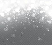 Fallender Schnee mit Schneeflocken auf transparentem Hintergrund Stockfotografie