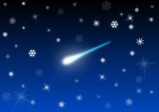 Fallender Stern mit Schnee Stockfotografie