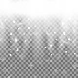 Fallender Weihnachtsglänzender transparenter Schnee lokalisiert auf transparentem Hintergrund Schneeflocken, Schneefälle Stockbild