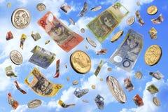 Fallendes australisches Geld Stockfoto