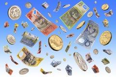 Fallendes australisches Geld Stockfotos