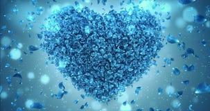 Fallendes blaues Rose Flower Petals In Lovely-Herz formen Hintergrund-Schleife 4k vektor abbildung