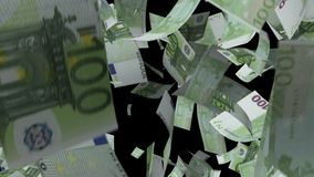 Fallendes Eurobanknotengeld stock video