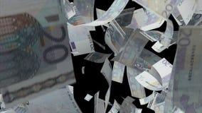 Fallendes Eurobanknotengeld stock footage