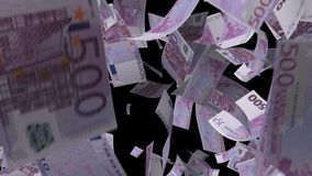 Fallendes Eurobanknotengeld stock video footage