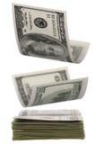 Fallendes Geld Fokus im Vordergrund Stockbild