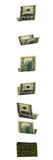 Fallendes Geld. Getrennt auf weißem Hintergrund. Stockbilder