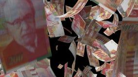 Fallendes israelisches Banknotengeld stock footage