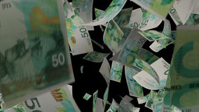 Fallendes israelisches Banknotengeld stock video footage