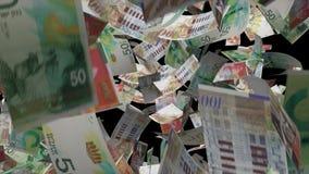 Fallendes israelisches Banknotengeld stock video