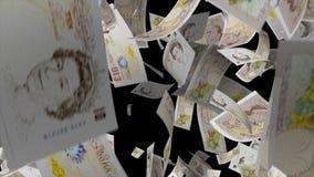 Fallendes Pfundgeld stock footage