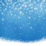 Fallendes Weihnachten, das, transparenter schöner Schnee lokalisiert auf blauem Hintergrund glänzt Schneeflocken, Schnee lizenzfreie abbildung