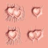Fallengelassener rosa Farbstoff auf Herzzeichen Stockfotos