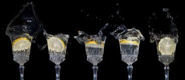 faller citronvatten Arkivfoton