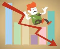 faller företags down för diagrammet retro försäljningar för grabben Arkivfoto