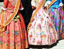 Falleras costume fallas dress detail from Valencia Stock Images