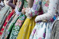 Falleras dress traditional with flowers, Spain, Valencia. royalty free stock images