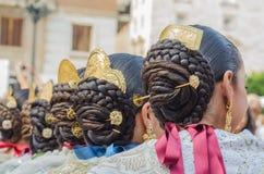 Falleras hårstil, örhängen i Valencia arkivfoto