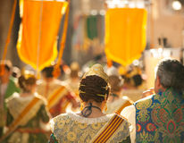 Fallero and Falleras  walking in fallas fest Valencia Stock Photography