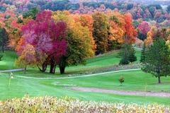 Fallfärger i golfbana royaltyfria bilder