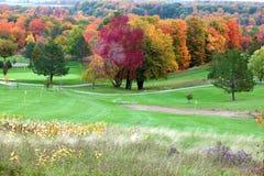 Fallfärger i golfbana royaltyfria foton