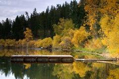 Fallfarben durch den See. Stockfotos