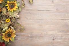 Fallgrenze mit Sonnenblumen Lizenzfreie Stockbilder