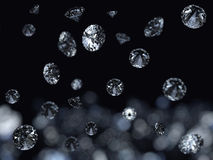Fallig gems background. Falling 3D diamonds on black background royalty free illustration