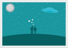 Fallin in love. In blue night with a lot of stars, moon and ufo vector ilustration royalty free illustration