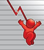 Falling. A red man on a graph representing a decrease in numbers Stock Photo