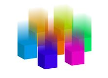 Falling 3D blocks. Illustration of 3D blocks with falling from above Stock Image