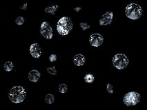 Falling 3D diamonds on black Stock Image