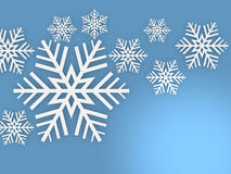 Falling 3D snowflakes. 3d render Stock Images