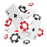 Falling aces and casino chips with blurred elements on white background. Playing cards, red and black money chips fly vector illustration