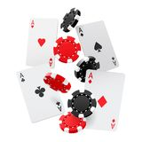 Falling aces and casino chips with isolated on white background. Playing cards, red and black money chips fly. The royalty free illustration