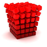Falling apart cube. Falling apart into small figures cube Royalty Free Stock Photo