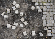 Falling Apart into Pieces. Abstract photograph of cement blocks falling apart into pieces royalty free stock photography