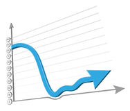 Falling arrow  illustration Stock Photos