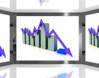 Falling Arrow On Screen Showing Decreasing Financial Chart Stock Photography