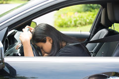 Falling asleep at the wheel Stock Photos