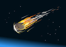 Falling Asteroid Into Atmosphere. Falling asteroid with long fiery tail in the night sky Stock Image
