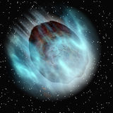 Falling asteroid in space sky  Royalty Free Stock Image