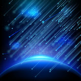 Falling asteroids. EPS 10. Falling stars, meteors or comets. Starry night sky background. Falling meteor on background night sky, falling asteroids. EPS 10 Stock Photos