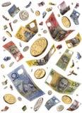 Falling Australian Money. Australian money notes and coins falling through the air