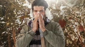 Falling autumn leaves and man sneezing while suffering from allergy. Digital composite video of falling autumn leaves and man sneezing while suffering from stock footage