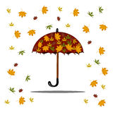 Falling autumn leaves and red umbrella. Isolated on white background for use in your design Stock Image