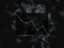 Falling bar chart on the black background graphics, down bar. Many chart on a black background. business, finance, investment, sav Stock Photos
